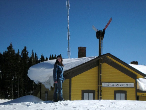 Cumbres & Toltec, Chama, Susan by station in winter