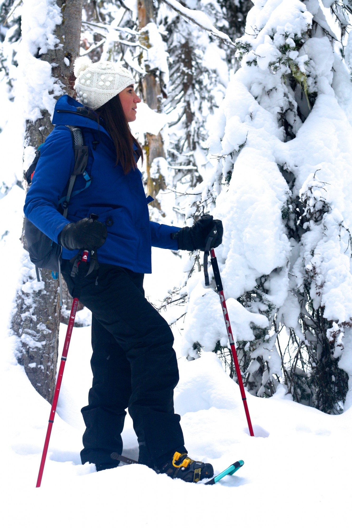 woman snowshoeing alone, close up