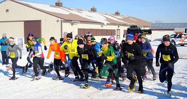 Just after the combined start, (L) Tessa Otto (358) races next to Jeanette Cudney (333), Wesley Kelly (342), Andrew Tyson (348), Kyle Lochner (356), Paul Schmitt (357), Garrett Williams (349),  Tyler Dezago (334), Tim Buerger (329) and Paul Buerger (327) on the near corner.