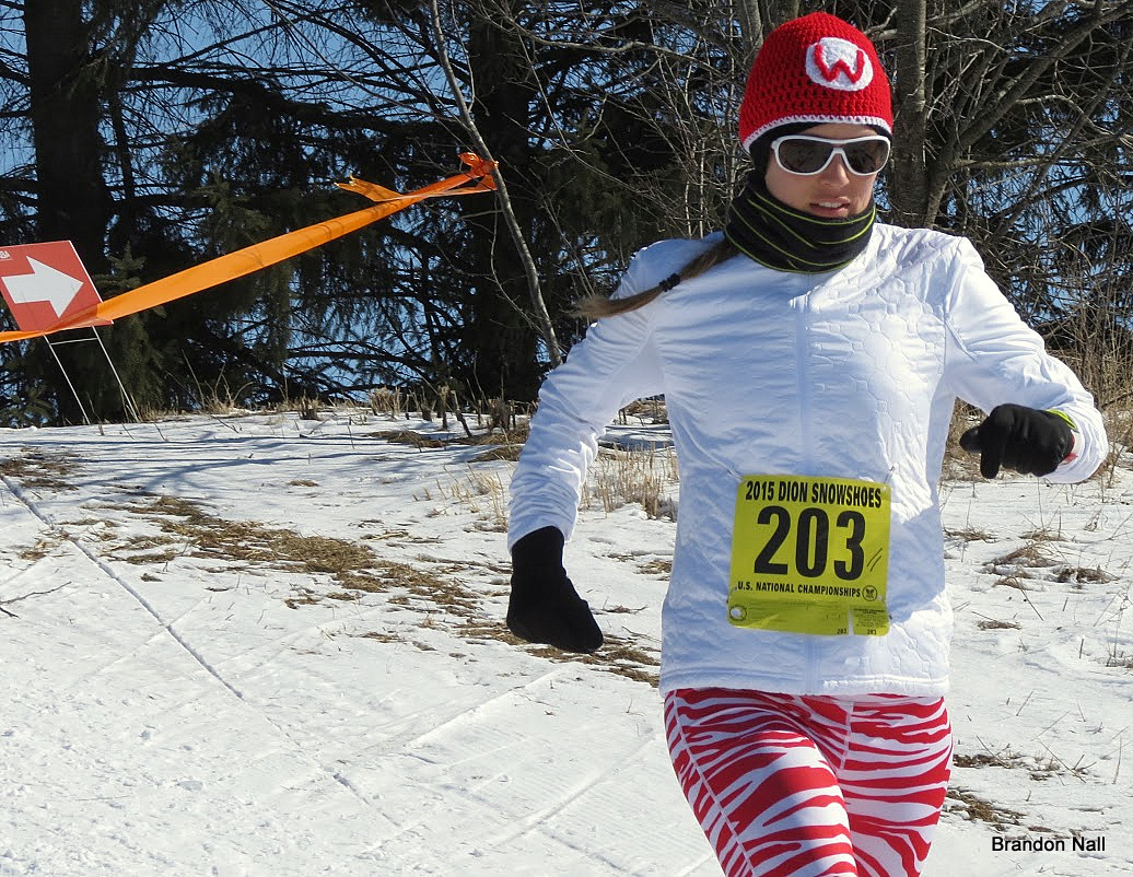 Keri Berling, McFarland, WI, competing at the Eau Claire 2015 Dion Snowshoes National USSSA Championships
