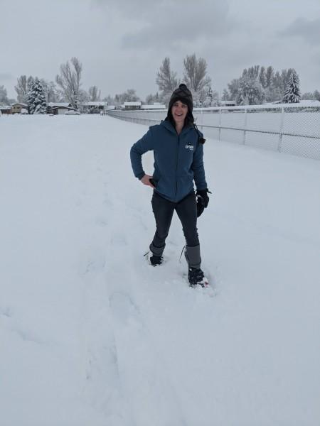 snowshoeing with Gobi Heat Ridge Hoodie