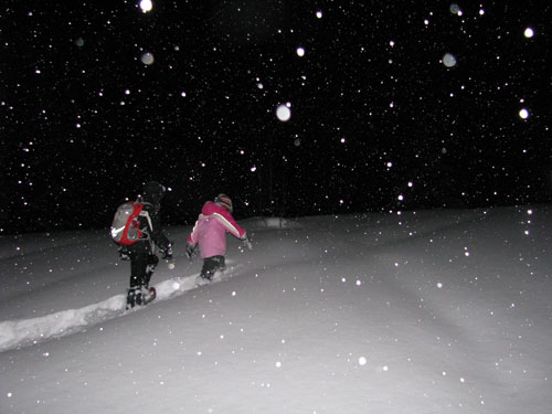 kids snowshoeing at night