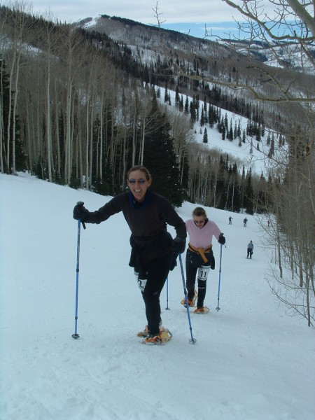 going up a hill- knee pain when snowshoeing