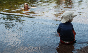 The author and her grandson at a favourite swimming hole. Photo Laura Rose