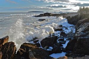 Maine's coastline provides dramatic surf