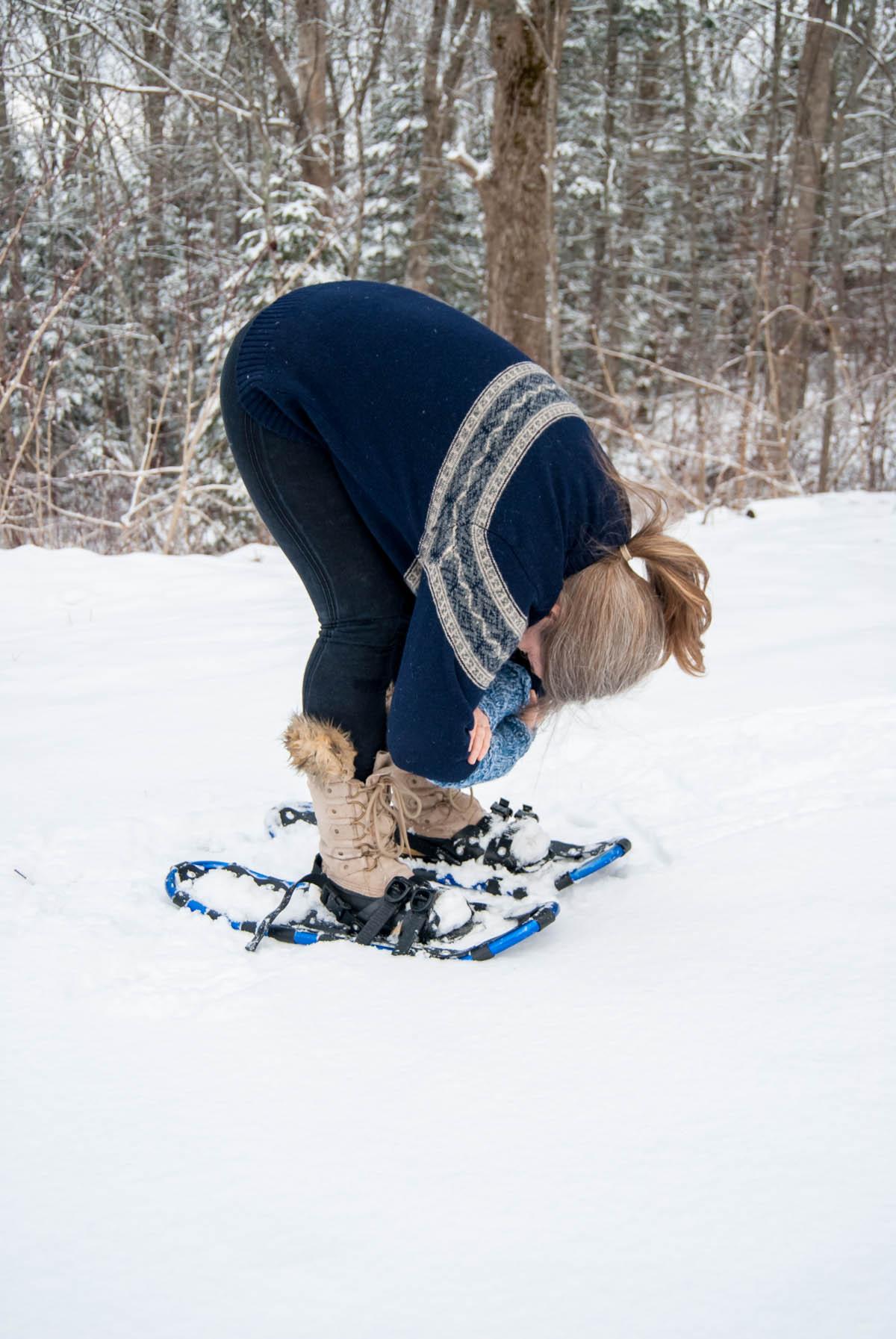 Forward fold in the snow