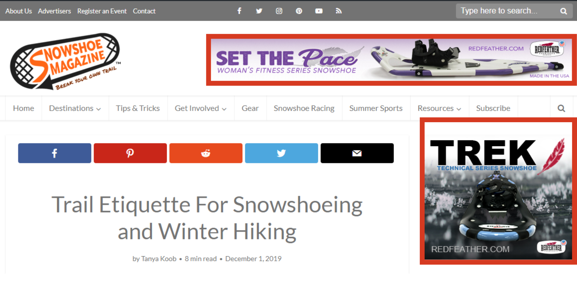 Snowshoe Magazine advertising: example of display ads on post page