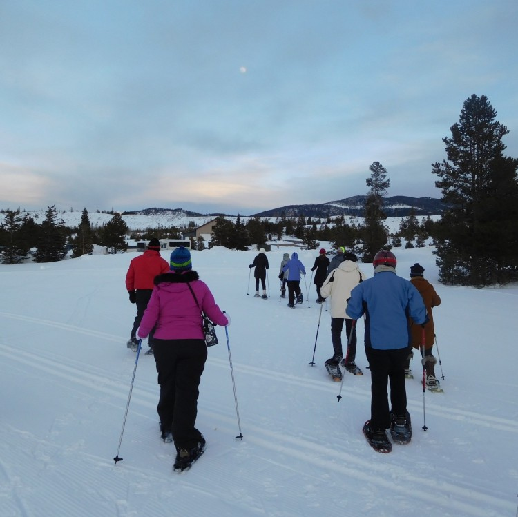 snowshoe tour in early evening at Frisco Adventure Park