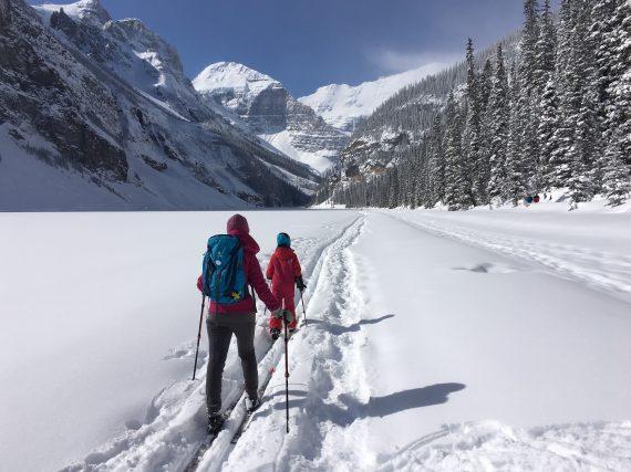 XC Skiing across Lake Louise, AB