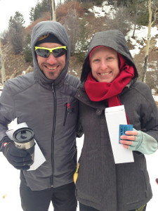 Hadji Corona and Whitney Spivey, overall winners of the 2015 Santa Fe Snowshoe Classic.