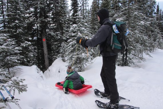 example of using a sled, Chester Lake Trail, Alberta