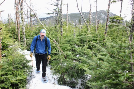 Heading to Mount Liberty's summit on snowshoes, New Hampshire
