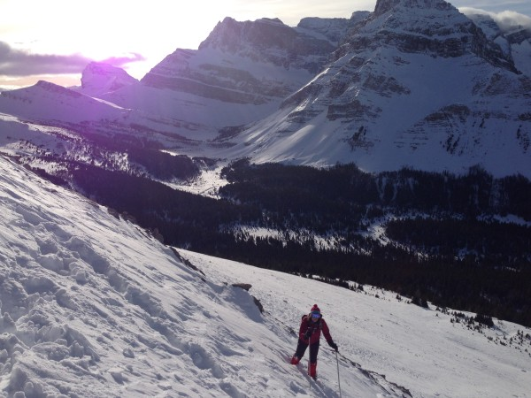 Attempting to climb Skoki Mountain from the lodge