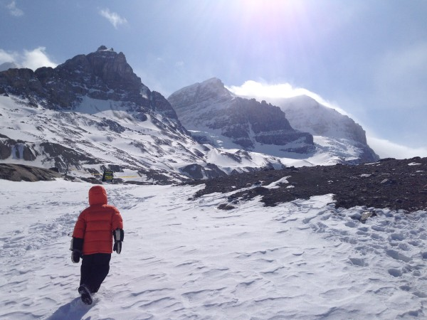 Hiking to the toe of the Athabasca Glacier, Jasper National Park