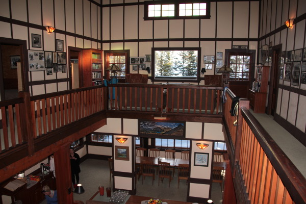 Looking down on the main floor of the Lake O'Hara Lodge from the bedrooms