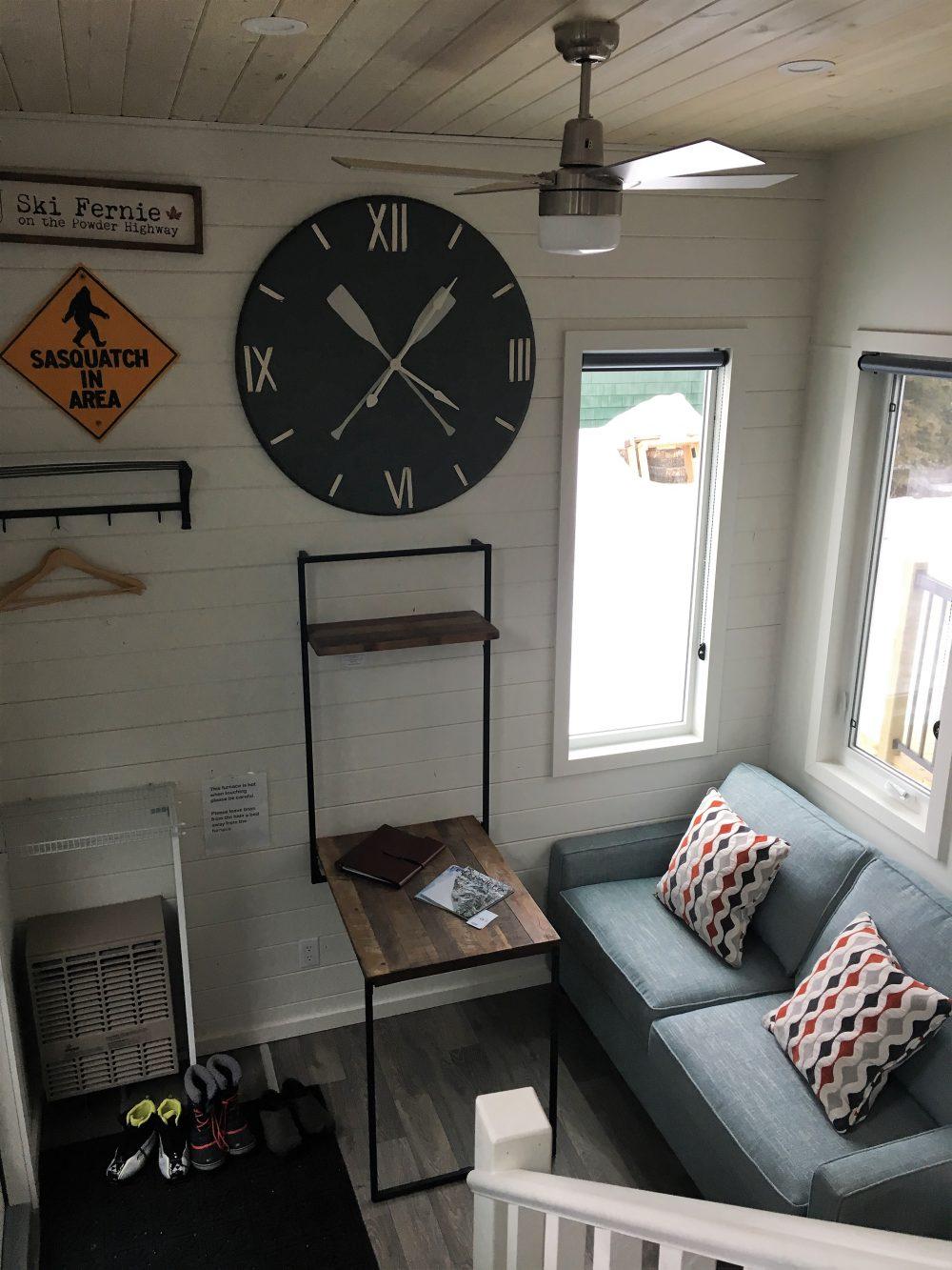 clock in tiny home, Fernie BC