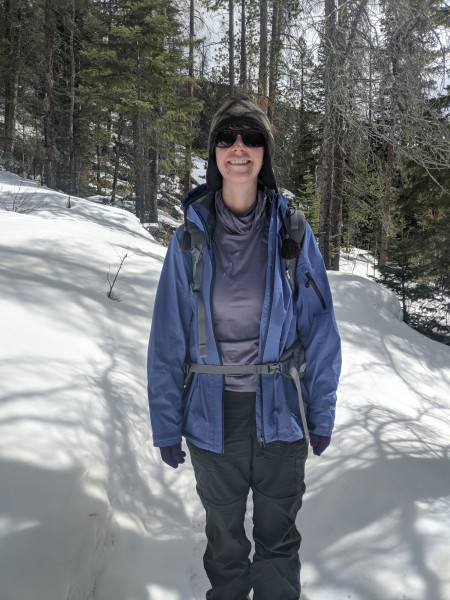 wearing Ridge Merino Aspect High Neck on the trail