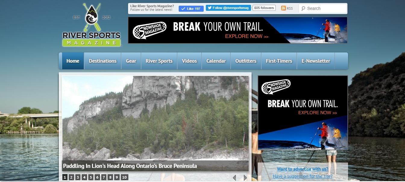 Snowshoe Magazine advertising: River Sports homepage