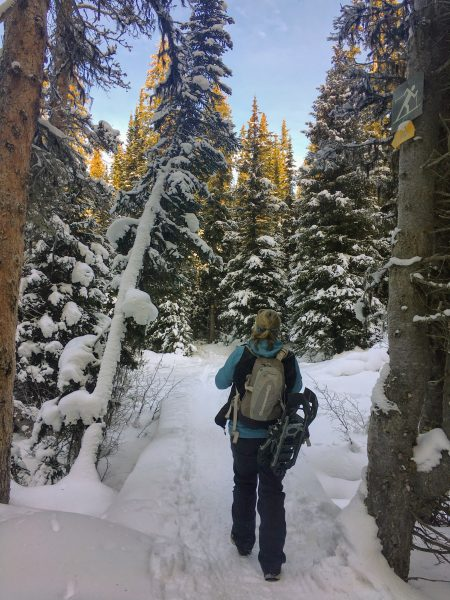 snowshoes strapped to pack