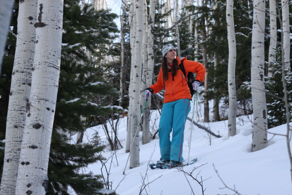 White Pine Touring snowshoe guide, Victoria Ritzinger, breaks trail in between switchbacks on Rob's Trail in Park City, Utah. Photo by Kim Fuller