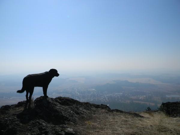 Jake gazing down on Deary Idaho through thick smoke.
