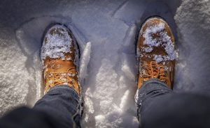 clothing- looking down on boots in the snow