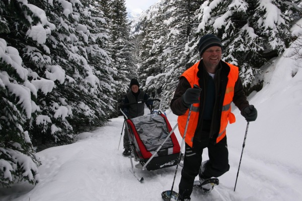 pulling a sled while snowshoeing