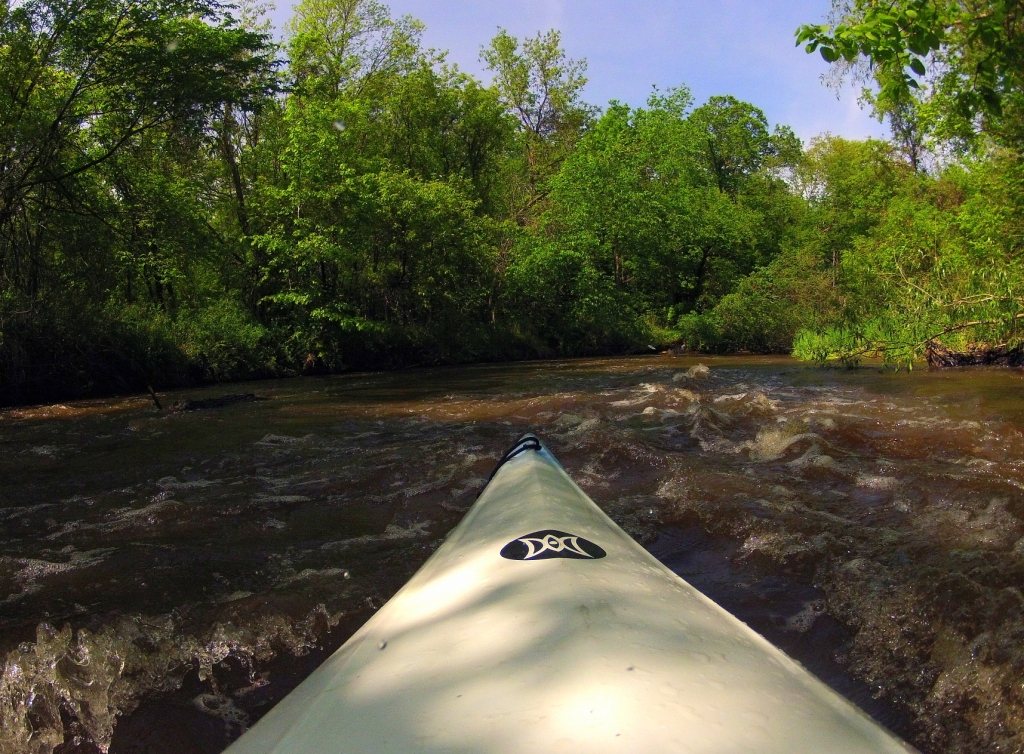 waves in a river while on kayak