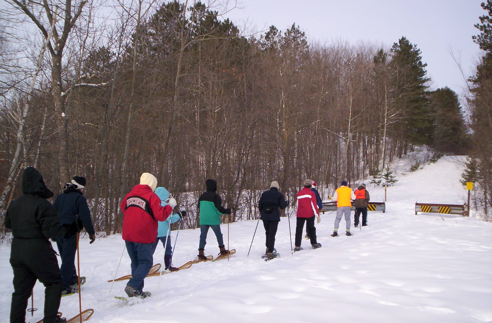 group on traditional snowshoe hike