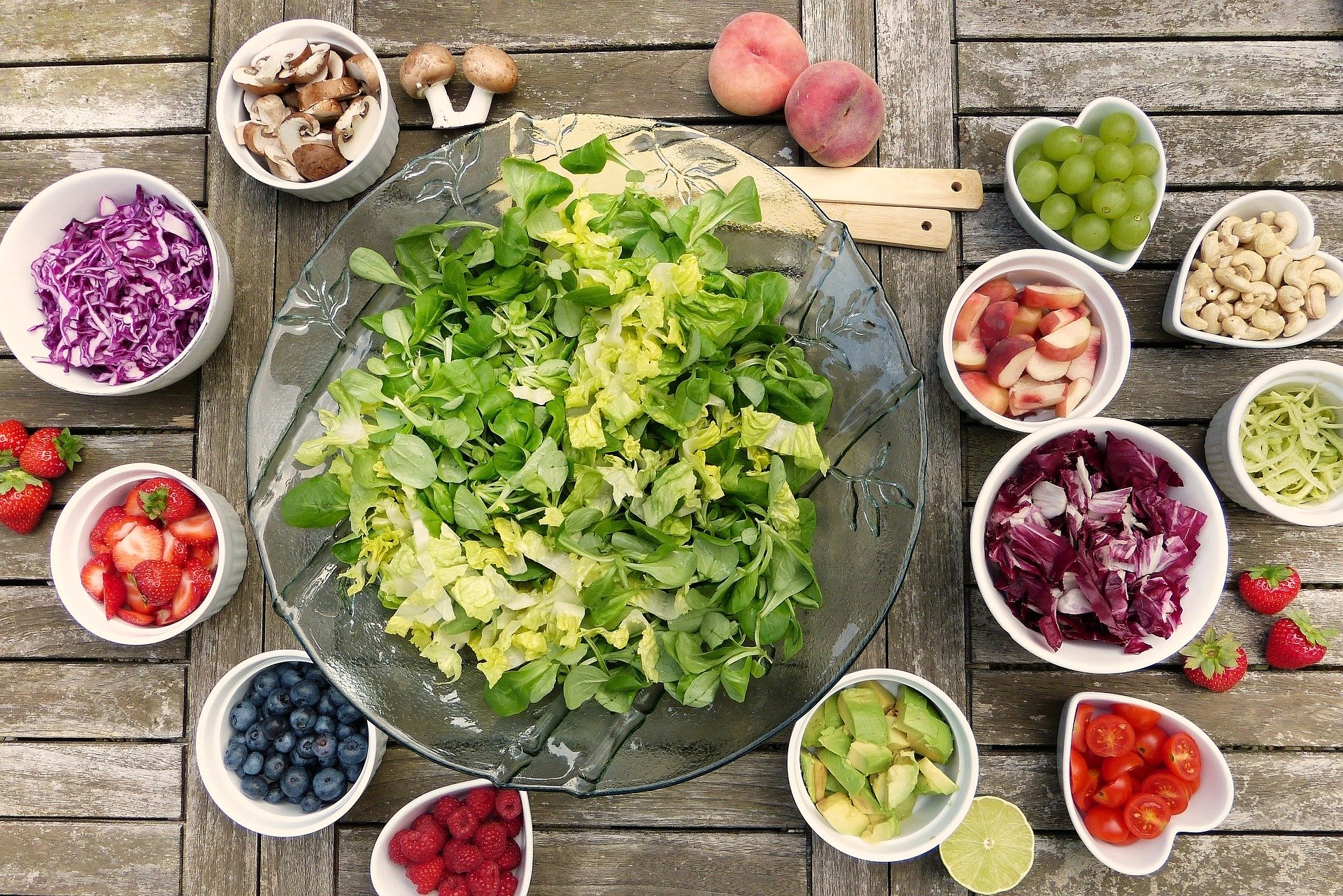 salad, fruits, vegetables