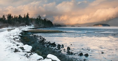 sunset and snow on San Juan Island, Washington