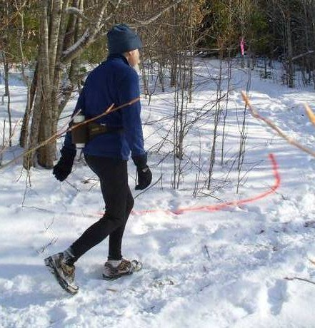 Ed Raymaker, senior athlete, snowshoe racing in Maine