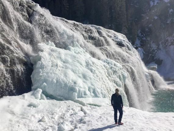 winter hike, Wapta Falls, Yoho National Park, Canadian Rockies
