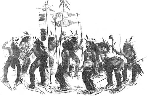 A traditional Native American war dance on snowshoes.