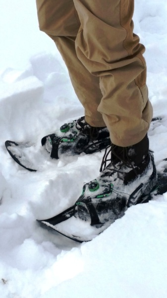 Mountain Khakis' original field pants are a good fit with snowshoeing.