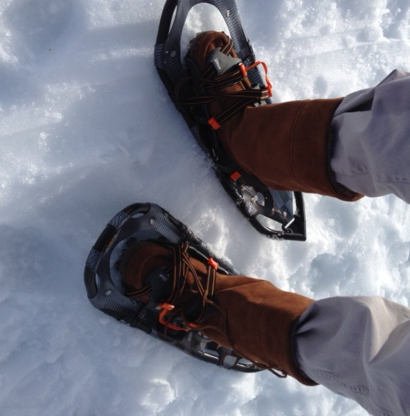 Snowshoeing in Manitobah mukluks.  (Photo by Frank Meek.)