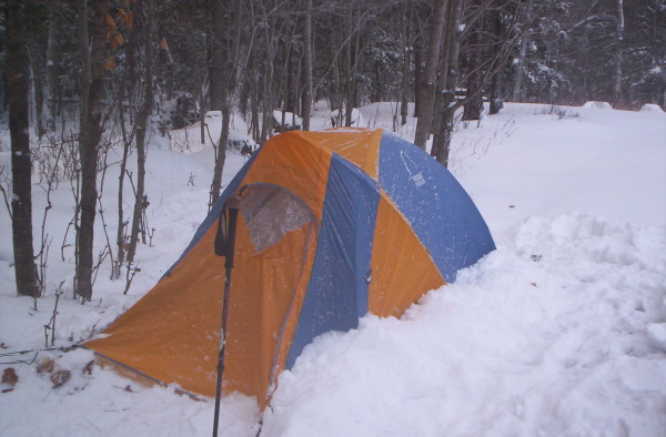 The author's Sierra Design Omega convertible tent set for winter camping.