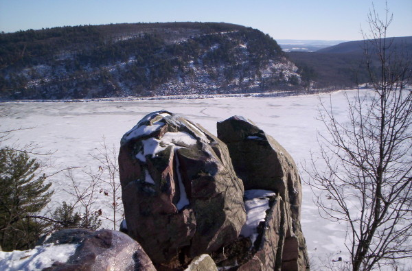 Giant rock formation found on the west side of Devil's Lake.