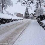 The snow-covered main street into Grindelwald