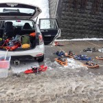 the less exciting part of being a snowshoe guide, clearing up the gear!