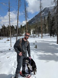 dog and person (on snowshoes)