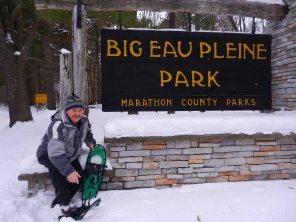 Getting ready for hiking on Big Eau Pleine County Park trails.