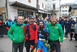 Daniele Fornoni and Fabio Bonfanti with Race Organizers Giacomo Rorato and Christian Zandonella (Photo by CadorEventi)