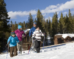 Family snowshoe outing at Frisco Nordic Center.