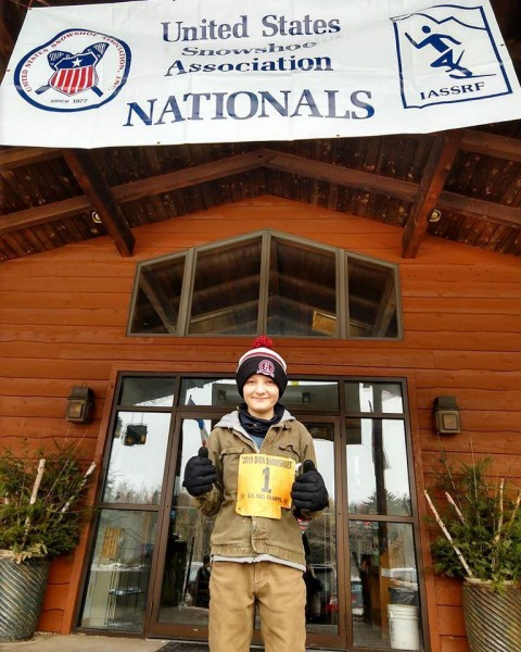 Ian Heil in front of Lakewoods Resort, Cable, WI