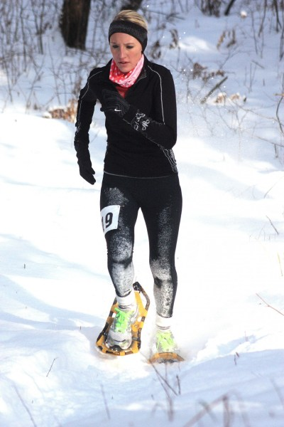 Michayla Heil racing in 2013 Phillips Flurry Snowshoe Race