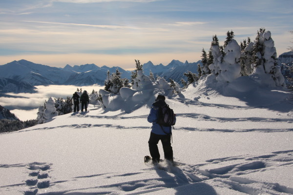 Snowshoeing on top of the world at Sunshine Meadows
