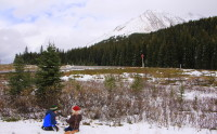 Snow lingers into June at Highwood Pass