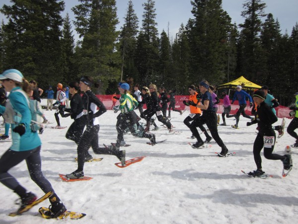 The women racers in the 10K event at the National Snowshoe competition March 16 in Bend, Oregon start the race in a flurry of snow.