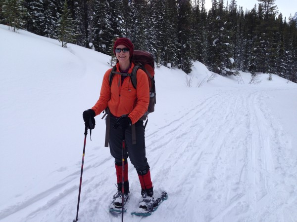 We met many travelers on the Lake O'Hara Road using snowshoes